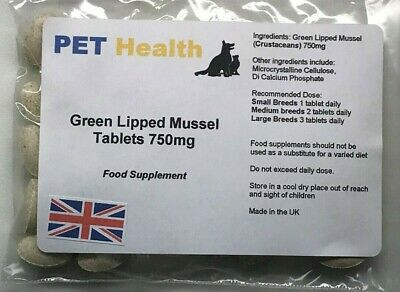 Green Lipped Mussel Tablets 60 x 750mg Dogs Cats Pets Joint Pain Arthritis