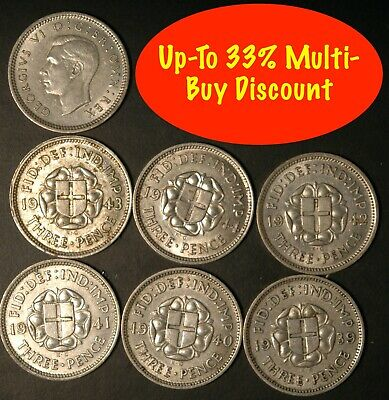 Threepence George VI 1937 - 1944 .500 SILVER Choose Your Dates