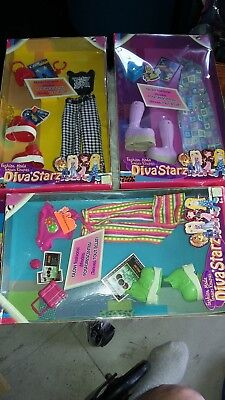 3 Diva Starz Clothing Outfits Glow In The Dark Fashions New 2002 Sealed