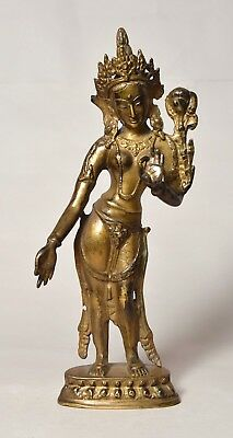 Quality Antique Vintage Tibetan Asian Chinese Brass Bronze Tara Buddha Figure