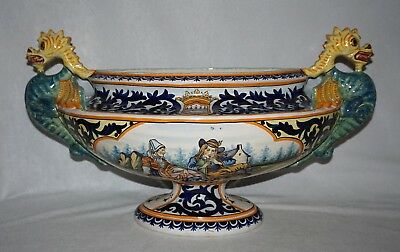 French Henriot Quimper Courting Breton Couple HUGE Jardiniere, Winged Dragons