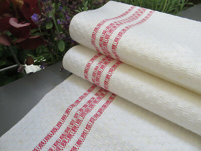 "Unused Art Deco Huck  Linen Towel Runner Red Stripes Monogram G or C 19"" by 38"""