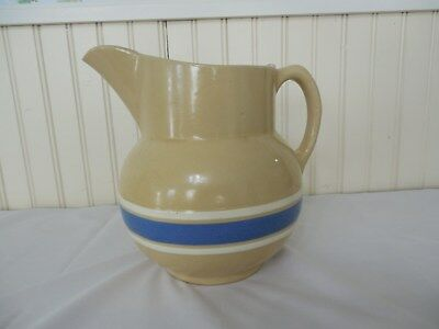 Large Watt Pottery No. 17 Pitcher Yelloware Tan Blue & White stripes 8 Inches