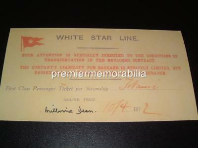 TITANIC WHITE STAR LINE MILLVINA DEAN SIGNED RE-PRINT 1st CLASS REPLICA TICKET