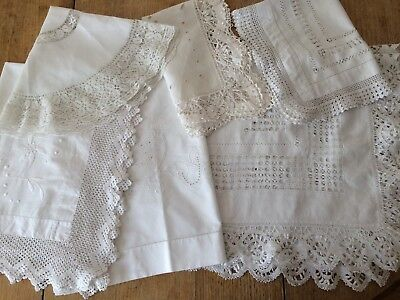 Job Lot Collection 6 Pretty Vintage Lace Edged Small Tablecloths Etc.