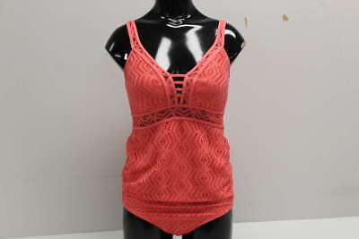 A Pea In The Pod Women's Size S Maternity Crochet 1-Piece Coral Swimsuit 12722