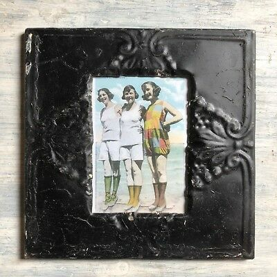 "1890's Antique Ceiling Tin Picture Frame 5"" x 7"" Black Metal Reclaimed 389-18"