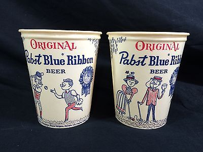 2 Pabst Blue Ribbon Beer Wax Cups Lily PBR Vintage 1960's