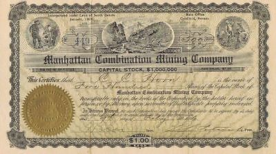 MANHATTAN COMBINATION MINING CO 1906  issued & uncancelled stock certificate