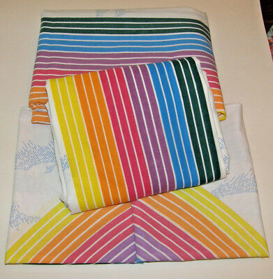 Vintage Pacific Rainbow Clouds Twin Flat and Fitted Sheet Set + 2 Pillowcases