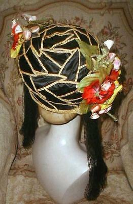 1920s Flapper Cloche Hat w Silk & Straw Leaves,Tassels,Flowers Oriental Sz Large