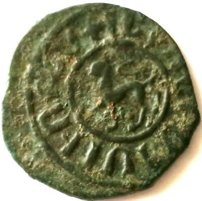 ARMENIA / CILICIA, LEVON II (1270-1289) Kardez, King, Armenian Coin,LION / CROSS