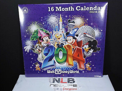 NEW 2013 & 2014 Disney Parks Disneyworld 16 Month Wall Calendar
