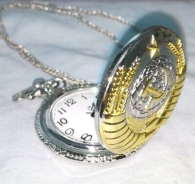 Soviet Pocket Watch Necklace Mens Clock Union USSR Moscow Vintage Putin Russia