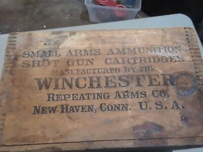 Vintage Winchester Wood Small Arms BLACK LETTERS  Ammunition Box Crate