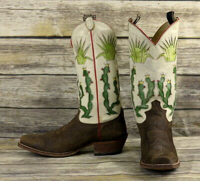 Justin Cowboy Boots Cactus Design White Brown Leather Mens Size 10 D Limited Ed