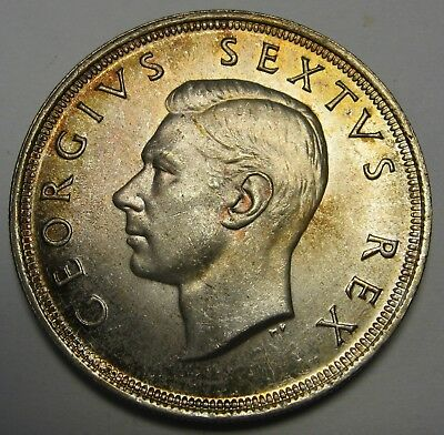 1952 South Africa Silver 5 Shillings Crown Gem BU Gorgeous Original Toning