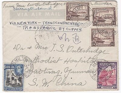 1942 BERMUDA TO METHODIST HOSPITAL CHINA 5/3d POSTAGE RATE TRANSPACIFIC CLIPPER