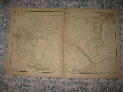 Antique 1891 Richmond White House Yorktown Williamsburg Virginia Civil War Map