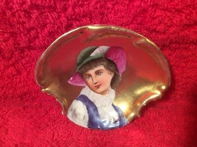 Antique Hand Painted Portrait Butter Pat Lady w Gold c1800's, p264 GIFT QUALITY!