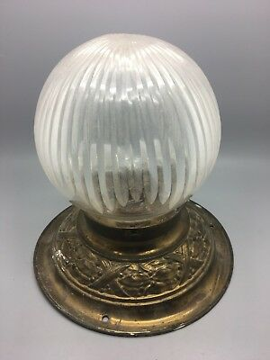 Antique Frosted Cut Crystal Ceiling Lamp Art Deco Brass Fixture & Fitting c.1930
