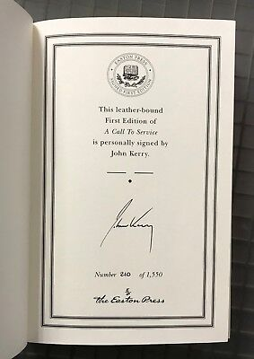 John Kerry Signed A CALL TO SERVICE Leatherbound Book 1st Edition AUTO w/ COA