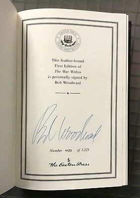 Bob Woodward Signed THE WAR WITHIN Leatherbound Book 1st Edition AUTO w/ COA