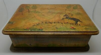 Antique / Vintage English Folk Art Painted Wood 2 Deck Card Box & 2 Sealed Decks