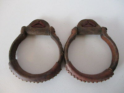 Used Leather Covered Steel Oxbow Stirrups