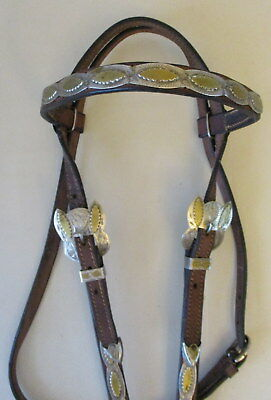 Used Leather Browband Headstall With Silver Plates, Conchos, Buckles