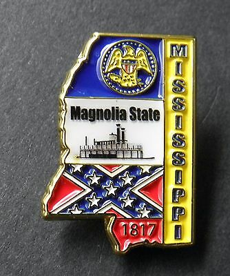 Mississippi Us Magnolia State Map Flag 1817 Lapel Pin Badge 1 Inch