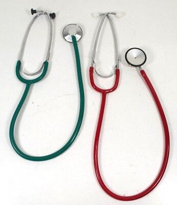 Vintage Pair of (2) Medical Stethoscopes Colors Red & Green Collectibles