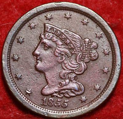 1855 Philadelphia Mint Copper Braided Hair Half Cent