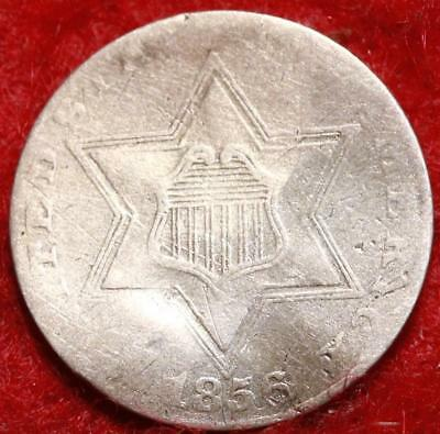 1856 Philadelphia Mint Silver Three Cent Coin