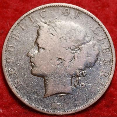 1896H Liberia 2 Cents Foreign Coin