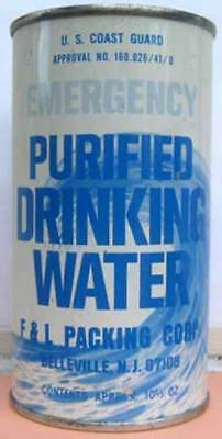 U.S. COAST GUARD PURIFIED DRINKING WATER ss Flat Top CAN F&L Packing, NEW JERSEY