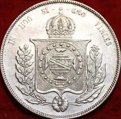 1855 Brazil 1000 Reis Silver Foreign Coin