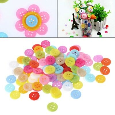 100Pcs 4 Holes Mixed Color Round Resin Buttons Fit Sewing And Scrapbook 11.5mm