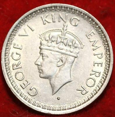 Uncirculated 1945-B India Silver 1/4 Rupee Foreign Coin
