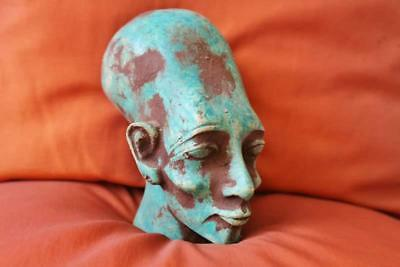 RARE Antique Egyptian Head Statue Ancient Queen NEFERTITI Collection Sculpture