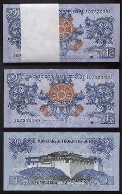 Originalbündel 100 notes: ORIGINAL BUNDLE BHUTAN, 1 Ngultrum 2013, P 27b