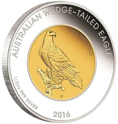 Australien - 50 Dollar 2016 - Wedge Tailed Eagle - 1 Oz Bimetall Gold/Silber PP
