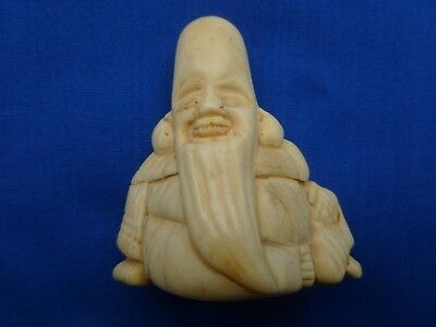 "Antique / Vintage Bovine Bone Netsuke "" Smiling Old Man"""