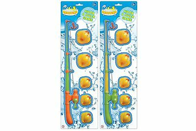 6pc Hook A Duck Kids Fishing Bathtime Game Summer Garden Pool Toy Rod Set
