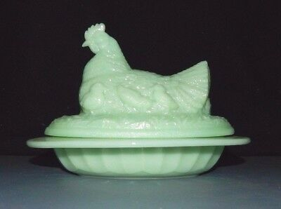 "JADEITE GLASS HEN ON NEST COVERED BUTTER DISH w CHICKS Animal 8"" Chicken"
