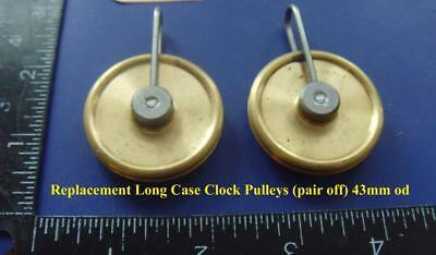 bou#10:  2 new top quality  brass 8 day long case clock pulleys