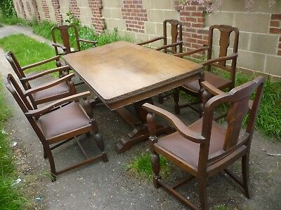 Really Nice 1930s Heavily Carved Oak 6ft Refrectory Table And 6 Matching Chairs