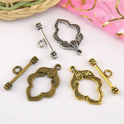 4Sets Tibetan Silver,Antiqued Gold,Bronze Leaf Connectors Toggle Clasps M1421
