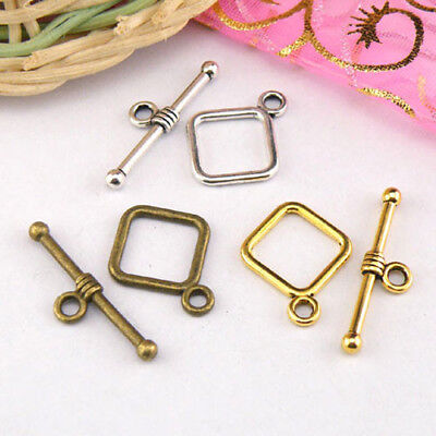8Sets Tibetan Silver,Antiqued Gold,Bronze Square Connectors Toggle Clasps M1412