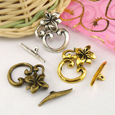 4Sets Tibetan Silver,Antiqued Gold,Bronze Flower Connector Toggle Clasps M1386